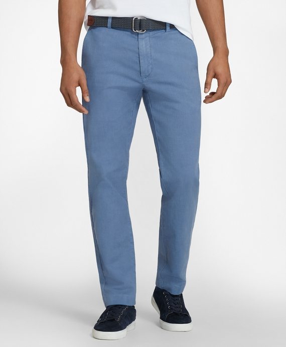 Garment-Dyed Cotton-Linen Stretch Chinos Blue