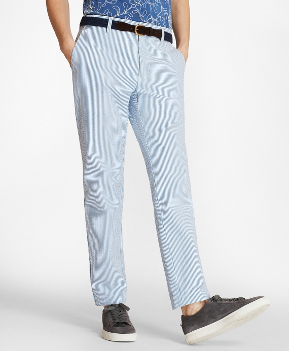 Striped Cotton Seersucker Pants by Brooks Brothers