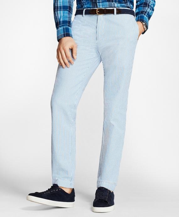 Slim-Fit Striped Cotton Seersucker Pants Blue
