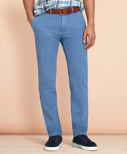 Slim-Fit Garment-Dyed Cotton-Linen Stretch Chinos
