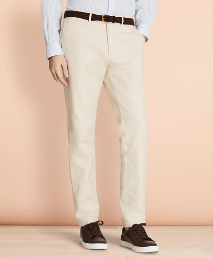 Slim Garment-Dyed Cotton-Linen Stretch Chinos
