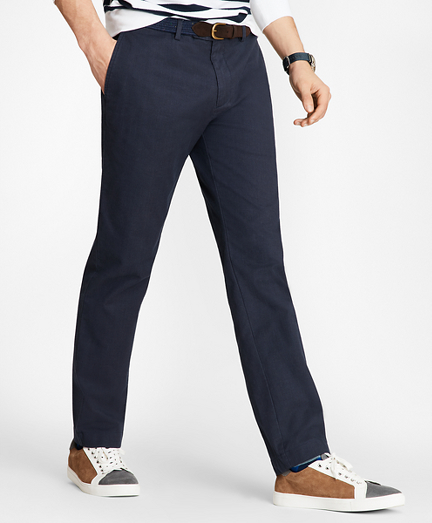 Slim-Fit Yarn-Dyed Navy Chinos