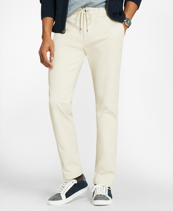 Cotton Twill Stretch Joggers Oatmeal