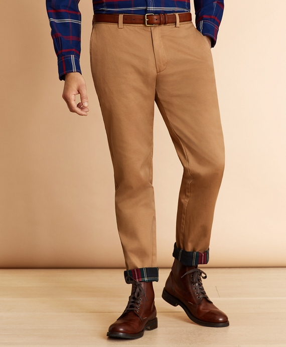 Flannel-Lined Chinos Dark Khaki