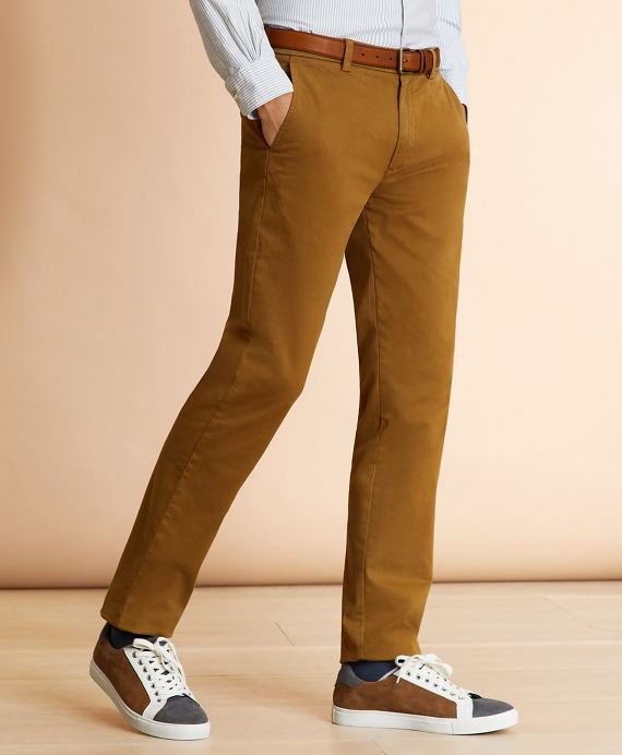 Garment-Dyed Stretch Chinos British Khaki