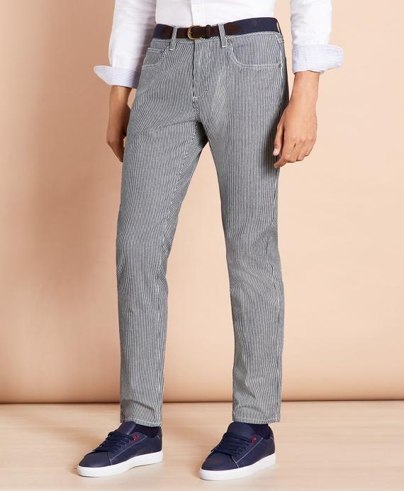 Striped Indigo Lightweight Jeans Blue