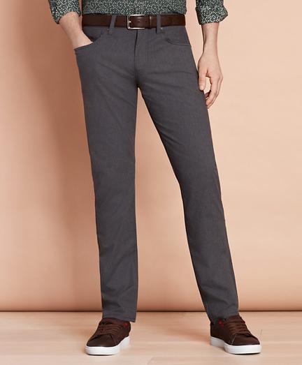 Heathered Stretch Cotton Five-Pocket Pants