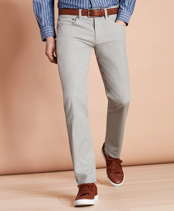 Heathered Stretch Cotton Five-Pocket Pants Grey