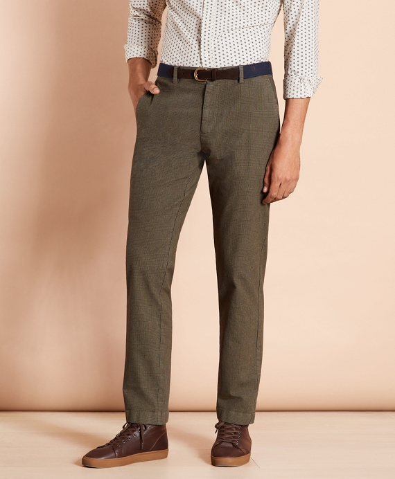 Plaid Twill Stretch Chinos Ivy Green