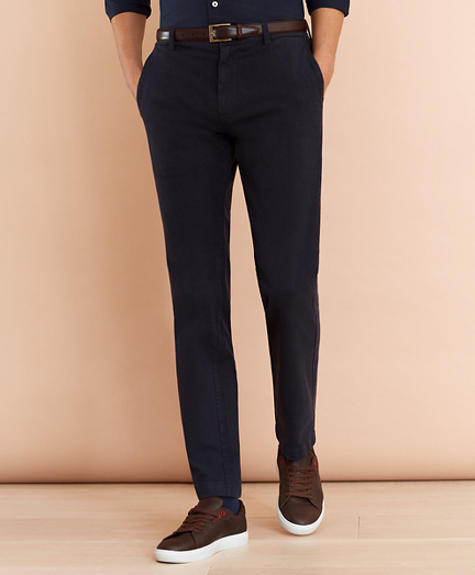 Plaid Twill Stretch Chinos