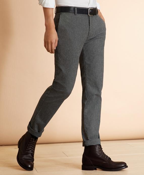 Pinstripe Herringbone Stretch Pants Grey