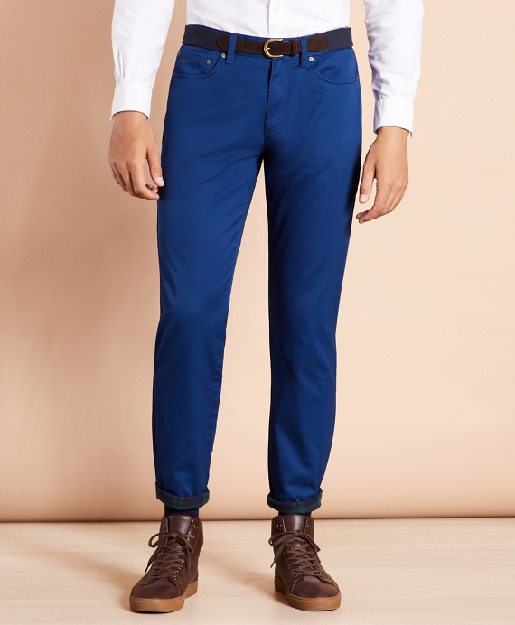 Five-Pocket Flannel-Lined Chinos Blue