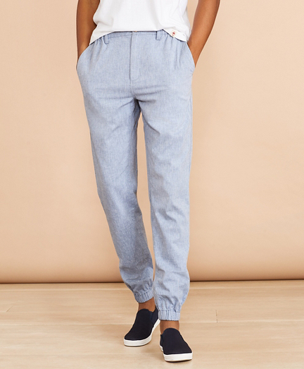 Cotton-Linen Chambray Joggers