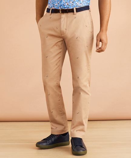 Paper-Plane-Print Stretch Chinos