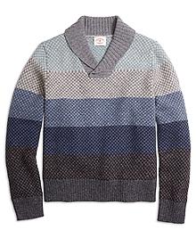 Ombre Stripe Shawl Collar Sweater