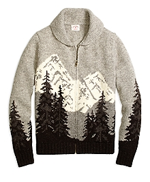 Mountain Motif Zip-Front Sweater