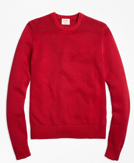 Garment-Dyed Crewneck Sweater Red