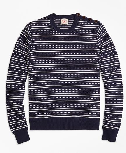 Stripe Jacquard Crewneck Sweater