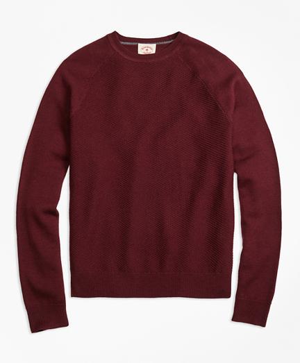 Merino Wool Diagonal Texture Raglan Crewneck Sweater