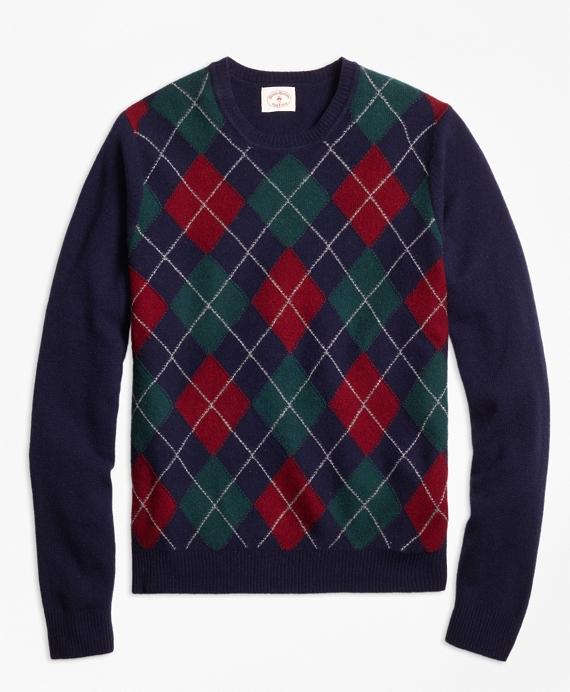 Lambswool Argyle Crewneck Sweater Navy