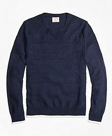 Ribbed Textured Crewneck Sweater