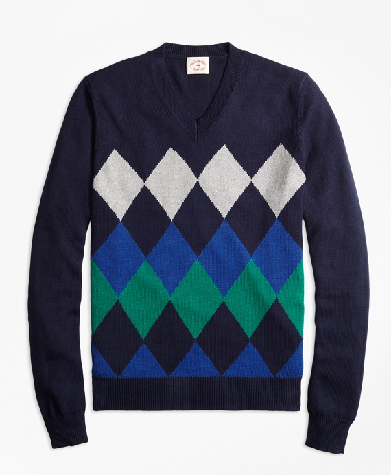 Cotton Argyle V-Neck Sweater Navy Multi
