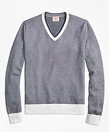 Bird's-Eye Cotton V-Neck Sweater