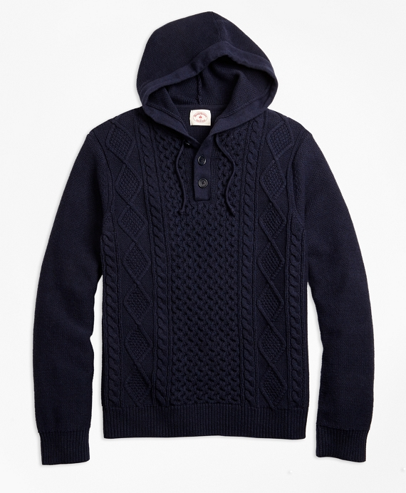 Cable-Knit Cotton Henley Hoodie Navy