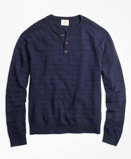 Textured-Stripe Cotton-Linen Henley Sweater