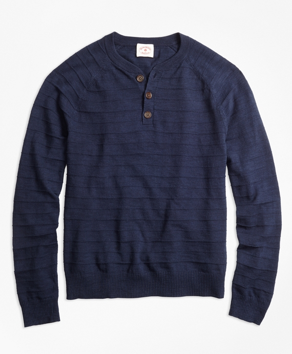 Textured-Stripe Cotton-Linen Henley Sweater Navy