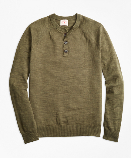 Cotton-Linen Henley Sweater