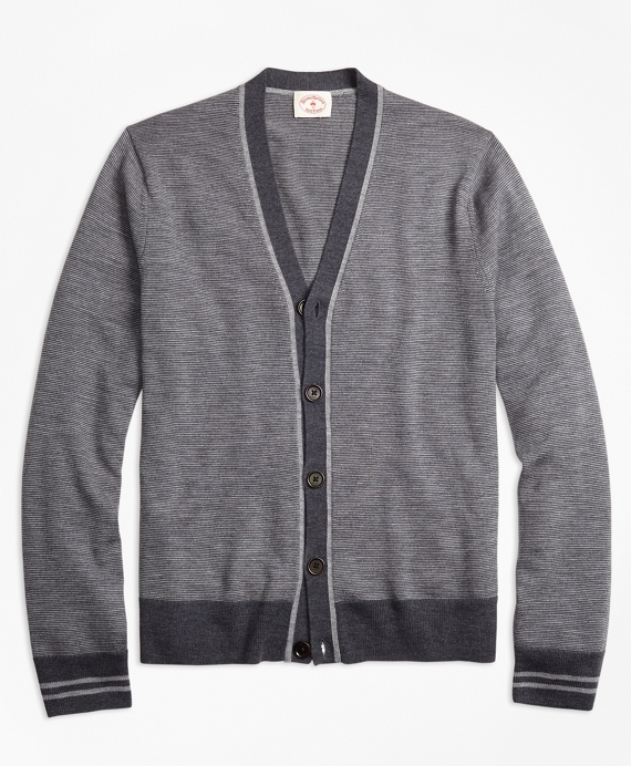 Striped Merino Wool Cardigan Grey