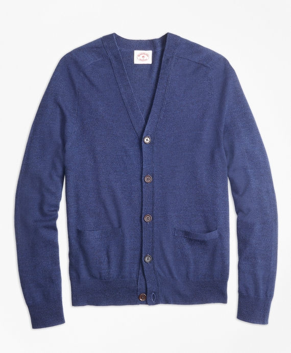 Merino Wool V-Neck Cardigan Navy