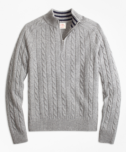 Cable-Knit Wool-Blend Half-Zip Sweater