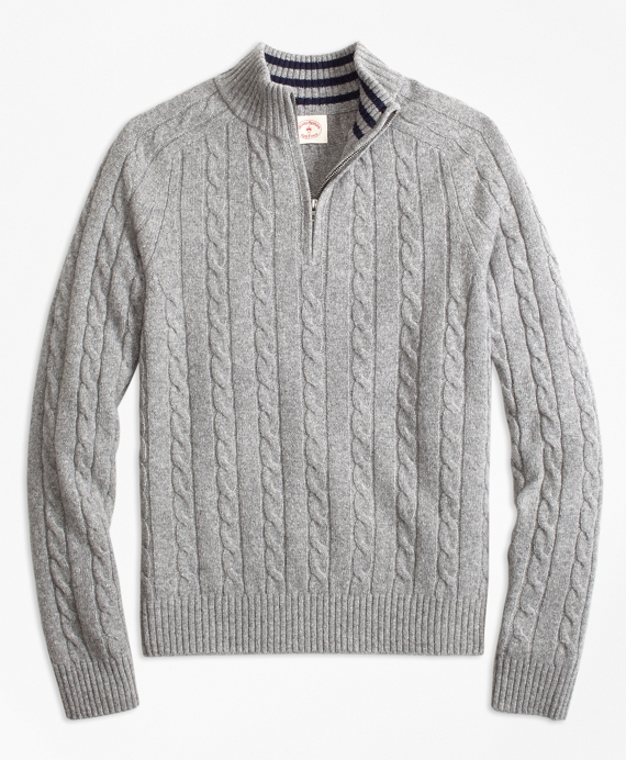 Cable-Knit Wool-Blend Half-Zip Sweater Grey