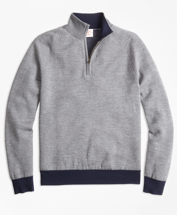 Bird's-Eye Merino Wool Jacquard Half-Zip Sweater Grey