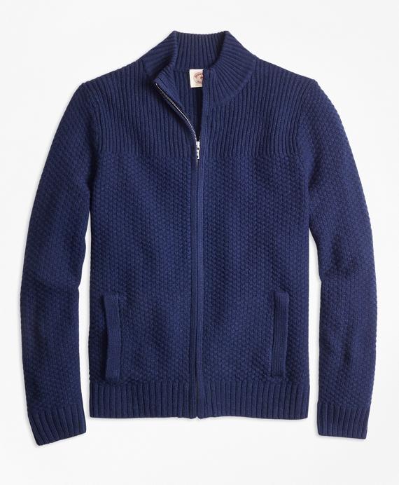 Wool-Blend Zip Cardigan Navy