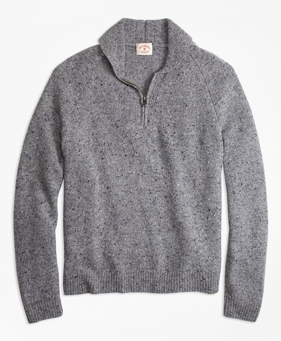 Wool-Alpaca-Blend Shawl-Collar Half-Zip Sweater Grey