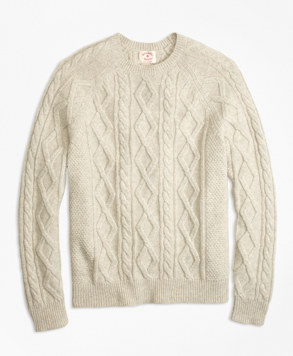 Wool-Blend Fisherman Sweater Oatmeal
