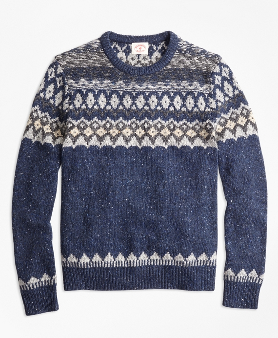 Wool-Alpaca-Blend Fair Isle Sweater Blue