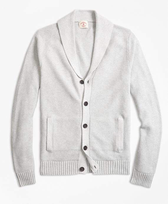 Seed-Stitch Cotton Shawl-Collar Cardigan Grey