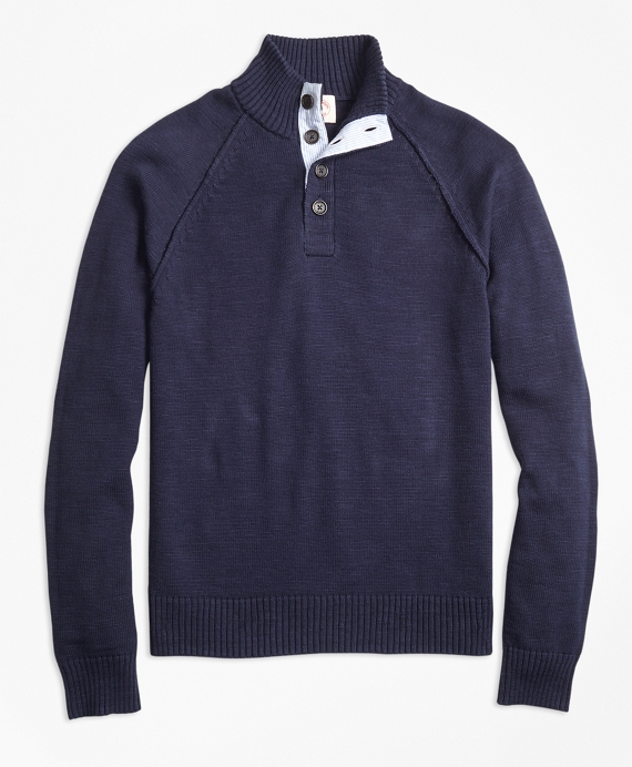 Cotton Button-Mockneck Sweater Navy
