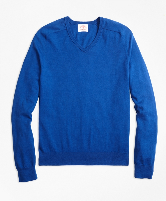 Cotton-Cashmere V-Neck Sweater Blue