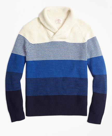 Color-Block Cotton Shaker Shawl-Collar Sweater