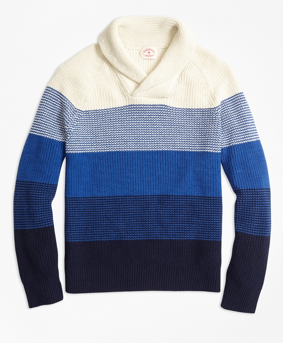 Color-Block Cotton Shaker Shawl-Collar Sweater Blue Multi