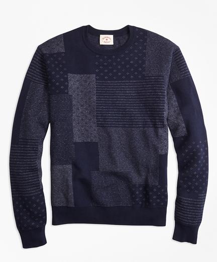 Patchwork Cotton Jacquard Crewneck Sweater