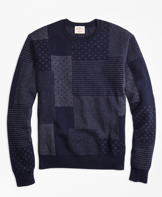 Patchwork Cotton Jacquard Crewneck Sweater Indigo