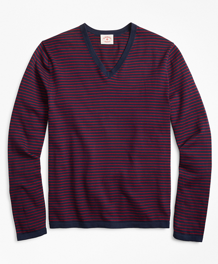 Striped Cotton V-Neck Sweater