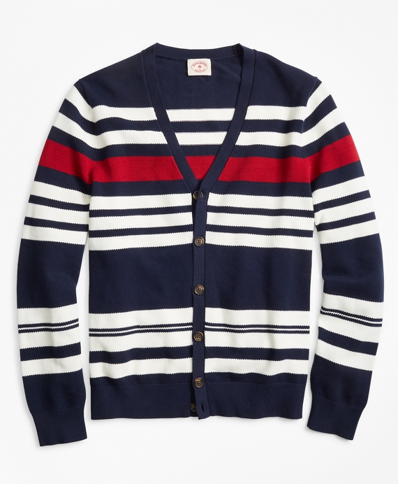 Striped Pique Cardigan Navy-Red