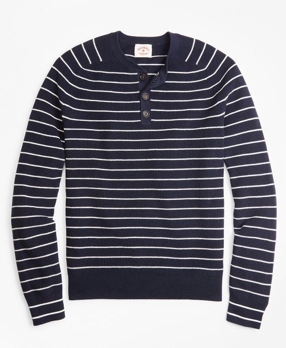 Striped Cotton Henley Sweater Navy